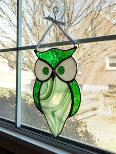 Stained Glass Owl Suncatcher Bird Ornament Window Decor
