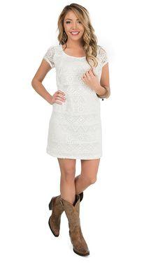 Panhandle Women's Natural Lace Cap Sleeve Dress | Cavender's