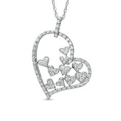 1/2 CT. T.W. Diamond Fluttering Heart Pendant in Sterling Silver - View All Necklaces - Zales