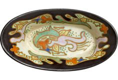 Antique Dutch Ceramic Gouda Bowl - 8″L × 4″W × 1.85″H  125 - orig. 495