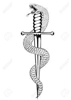 snake and dagger tattoo black and white - Google Search