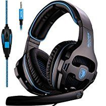 Sades Gaming Headset for Xbox one PS4, Over Ear Noise Cancelling Gaming Headphones with Mic, Stereo Bass Surround, Volume Control for PC, Mobile , Mac, iPad, Laptop (Gray)