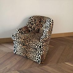 Image of Mid Century Velvet Leopard Print Club Chair