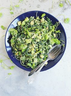Super Green Quinoa Salad with Fresh Basil + Pistachios - With Food + Love