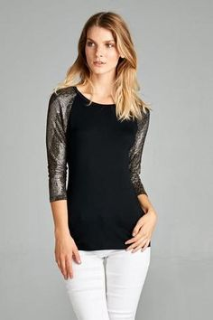 3/4 Silver Detailed Sleeve Top