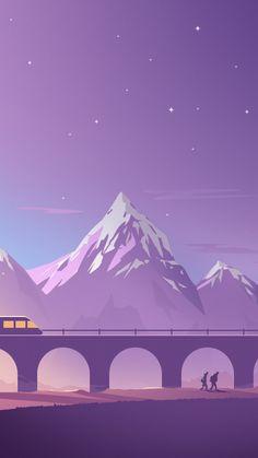 Train, bridge, mountains, minimalistic, digital art, 720x1280 wallpaper