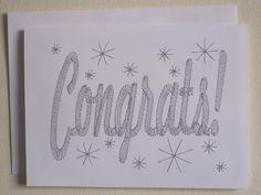 Embroidered Congrats/Congratulations Note Card