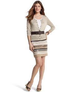 """STRIPED SEQUIN PENCIL SKIRT  STYLE: 570046509  Overall Rating  4.6 / 5  read all 37 reviews  write a review  Neutral-toned skirt artfully crafted with pieced stripes and high-luster sequins. 98% Cotton, 2% Spandex. Machine wash or dry clean. Imported.  Sits below the waist.  Hidden side zip with hook-and-eye closure.  Fully lined.  Length: 19""""."""