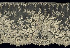 """Antique Needle Lace: Point d'Alencon.  """"Often the various parts of this lace, from the French Second Empire, were executed by specialists -  the toile by one person, elaborate fillings by another, reseau by another.  Sometimes up to 10 specialists were involved."""""""