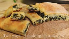 So crispy and delicious Greek spanakopita you should try at least ones. Even if it's long to make, after tasting it you will be really glad for trying this recipe! Greek Spinach Pie, Spanakopita, Feta, Oven, Rolls, Cheese, Homemade, Baking, Ethnic Recipes