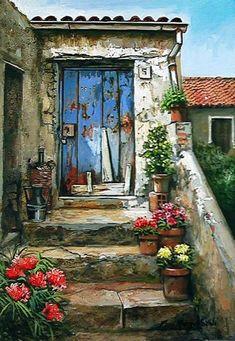 francesco mangialardi in 2019 Old Doors, Beautiful Paintings, Painting Inspiration, Home Art, Painting & Drawing, Landscape Paintings, Watercolor Paintings, Watercolors, Drawings