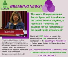 """#DemandERA #RatifyERA #ERAnow #Equality  BREAKING NEWS! This week ERA Congressional Champion Congresswoman Jackie Speier is introducing to the U.S. Senate, a resolution """"removing the deadline for the Ratification of the Equal Rights Amendment."""" YOU CAN HELP! WE NEED ALL HANDS ON DECK!  JOIN Our ERA Grassroots Facebook Event http://on.fb.me/1AXVDWx  CONTACT REPRESENTATIVES from the list in the event- Urge them to COME OUT STRONG AS 'ORIGINAL CO-SPONSORS' of the resolution!"""