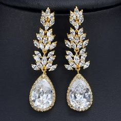 CWWZircons Silver Color Long Black Crystal Drop Earring Cubic Zirconia Women Jewelry