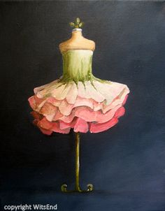 Rose Tutu painting original ooak ballet Flower Petals fantasy Ballerina costume fashion art