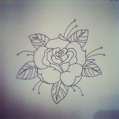 Traditional Rose Tattoo | traditional rose tattoo linework by hobojay designs in
