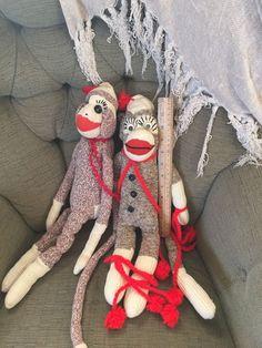2 Large Handmade Vintage Sock Monkey Buttons Yarn Bric Brac   eBay