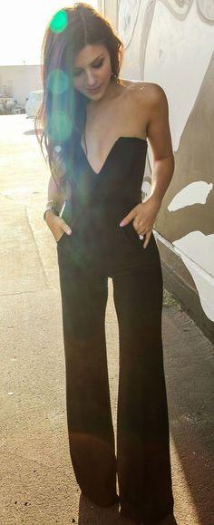 Black Plain Bandeau High Waisted Sexy Long Jumpsuit