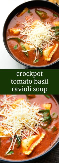 SUPER simple and delicious slow cooker tomato basil ravioli soup