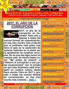 Boletín emancipación obrera n°604 diciembre 30 de 2017  Medio Alternativo Independiente de Noticias, Opinión, Ciencia y Cultura Popular.