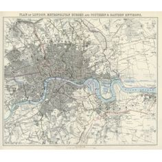image of Antique London City Map Wallpaper London Map, London City, World Map Wallpaper, East Street, Antique World Map, City Maps, Vintage Maps, Designer Wallpaper, Wall Art