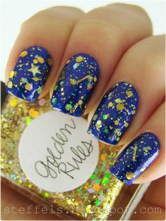 """One coat of Lynnderella """"Golden Rules"""" over DR 06. Kind of night sky-ish over such a blue!"""