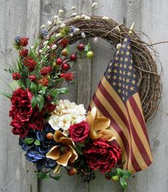 Americana Heritage Classic Floral Wreath with Tea Stained Flag by NewEnglandWreath