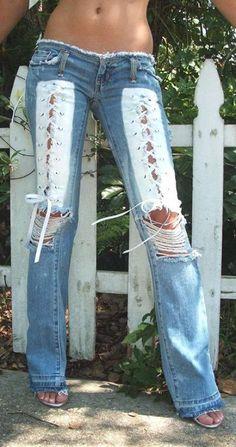 Denim Fashion, Boho Fashion, Fashion Outfits, Womens Fashion, Jean Diy, Mode Jeans, Sexy Jeans, Ripped Jeans, Jeans Pants
