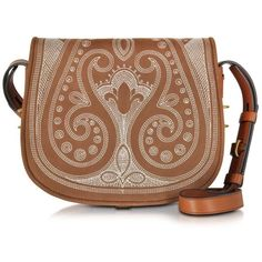 Tory Burch Handbags Caramel Leather Embroidered Medium Saddle Bag ($800) ❤ liked on Polyvore featuring bags, handbags, shoulder bags, brown purse, leather flap handbag, saddle bags, tory burch shoulder bag and leather handbags