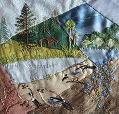CRAZY QUILTING INTERNATIONAL - - love the little cabin in the woods stitching on this crazy quilt