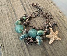 Beach Inspired Jewlery Handmade Copper Ocean Jewelry Beach Theme Jewelry Malibu Inspired Bracelets