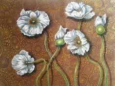 "Saatchi Art Artist Cherie Roe Dirksen; Drawing, ""White Poppies on Brown"" #art"