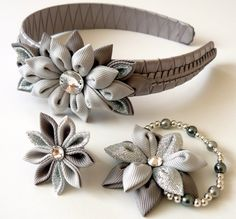 Kanzashi fabric flowers. Set of 3 pieces. Silver and by JuLVa