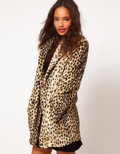 Coat in Leopard with Button Front $36.83