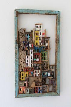 Rock village' is de meest ondiepe Habitat uit de serie. 47 x 25 x 4, © 2012, verkocht Ruimtelijk   Beelden   Mixed Media