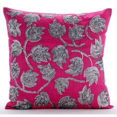"Pink Art Silk 18""X18"" Sequins Tulip Flower Pillows Cover - Tulip Twirl"