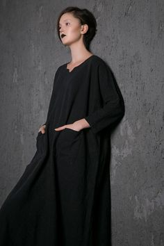 Black linen Dress Loose-Fitting dress Casual Everyday by YL1dress