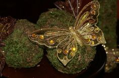 Moss Covered Balls with Golden Butterflies for Christmas