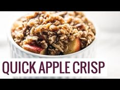 Five Minute Single Serving Apple Crisp with a wholesome oat, pecan, and coconut oil topping. Made super fast in the microwave! No oven required.