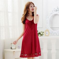 ed7aa2579c Summer Sexy Female Lounge Sleepwear Long Design Loose Female Ice Silk Lace Princess  Red Nightgown Plus