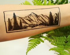 Amazing temporary tattoo! Mountain and Pine Tree Forest Scene by NatureTats.