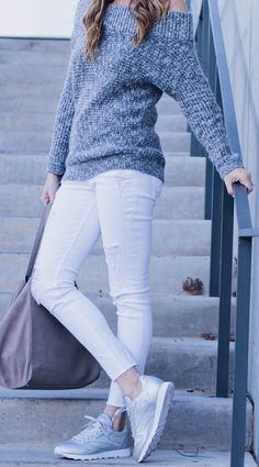Grey Off Shoulder Knit / White Ripped Skinny Jeans / Grey Sneakers