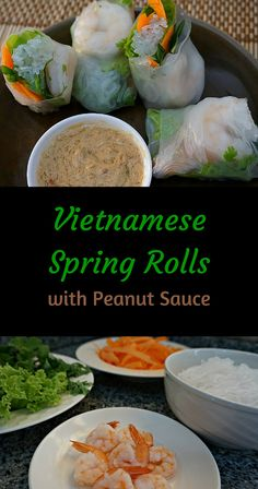 Fresh Vietnamese Spring Rolls with Shrimp and Peanut Sauce. With fresh Thai basil, cilantro and mint, these spring rolls taste like a bite of spring. @venturists