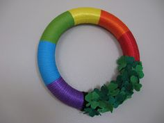 St Patricks Day wreath. Shamrocks at the end of the rainbow!