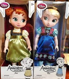 Disney Store FROZEN ELSA and ANNA Animators Collection Dolls TODDLER BRAND NEW!!