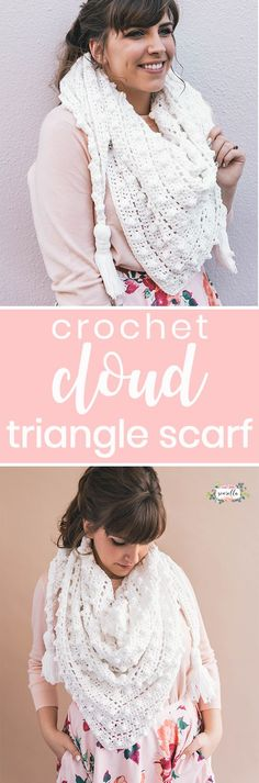Crochet the pretty and feminine Le Nuage Wrap - french for cloud, this is the coziest triangle scarf you'll find! I made mine with Lion Brand's new Feels Like Butta yarn and you won't believe the soft, plush feel of this accessory! Find the free pattern & video tutorial on my blog