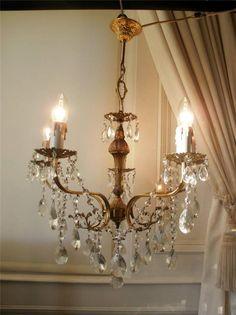 French Vintage 5Lt Brass Crystal Chandelier