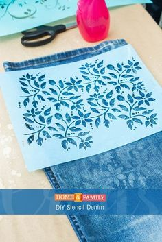 DIY Stencil Denim – Update an old pair of jeans by using bleach to stencil the denim. DIY by /orlyshani/ on Home and Family! DIY Stencil Denim – Update an old pair of jeans by using bleach to stencil the denim. DIY by /orlyshani/ on Home and Family! Stencils, Stencil Diy, Fabric Crafts, Sewing Crafts, Sewing Projects, Diy Projects, Jean Crafts, Denim Ideas, Painted Jeans