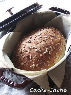 Cache-Cache+:staubで 押し麦パン & 今日の朝食♪