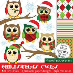 Christmas Owls  Digital paper and clip art set by pixelpaperprints, $5.00