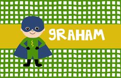"""Personalized Placemat - matches kids plate and dishsets laminated 12x18"""" superhero"""